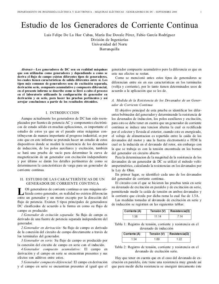 DEPARTAMENTO DE INGENIERÍA ELÉCTRICA Y ELECTRÓNICA - MÁQUINAS ELÉCTRICAS - GENERADORES DE DC - SEPTIEMBRE 2008            ...