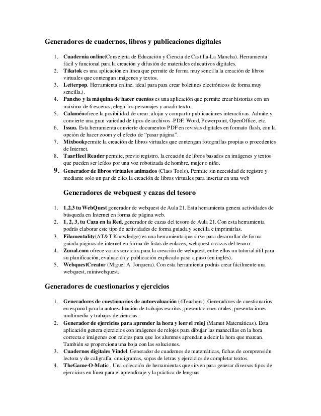 Generadores de cuadernos, libros y publicaciones digitales   1. Cuadernia online(Consejería de Educación y Ciencia de Cast...