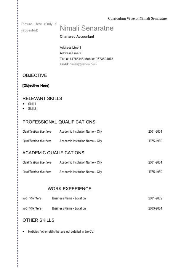 Curriculum Vitae: Curriculum Vitae General Format