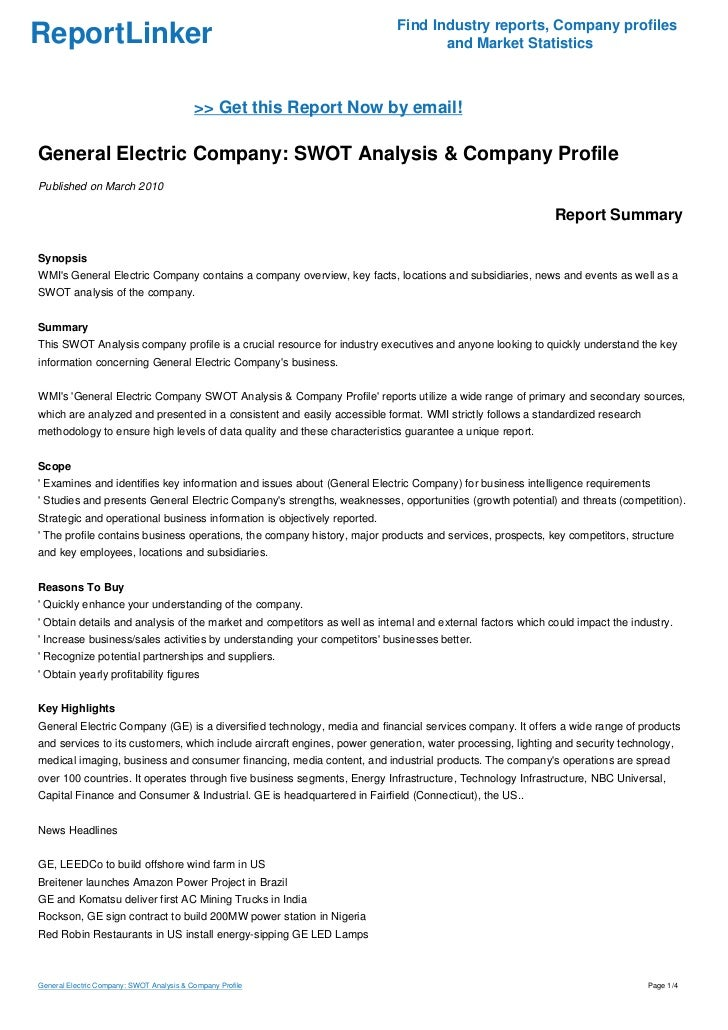 case analysis of ge's growth strategy General electric (ge) swot analysis  the analysis shows growth barriers that ge's managers must address  generic strategy & intensive growth strategies.