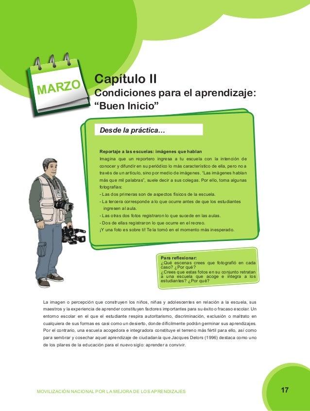 """MARZO  Capítulo II Condiciones para el aprendizaje: """"Buen Inicio"""" Desde la práctica… Reportaje a las escuelas: imágenes qu..."""