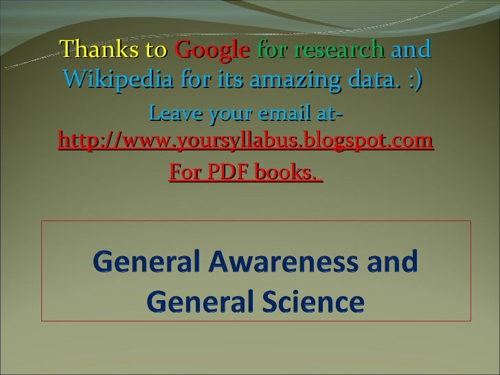 General awareness and general science