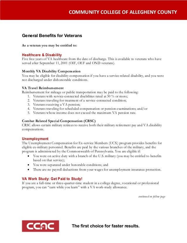 COMMUNITYCOLLEGEOFALLEGHENYCOUNTYGeneral Benefits for Veterans                 ...