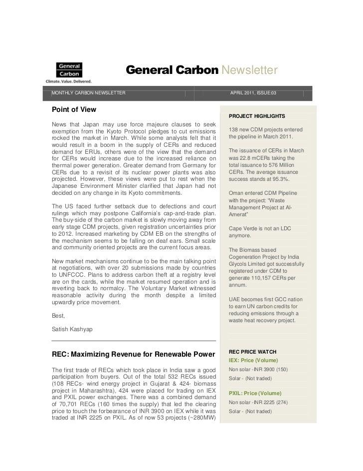 General Carbon Newsletter - April 2011
