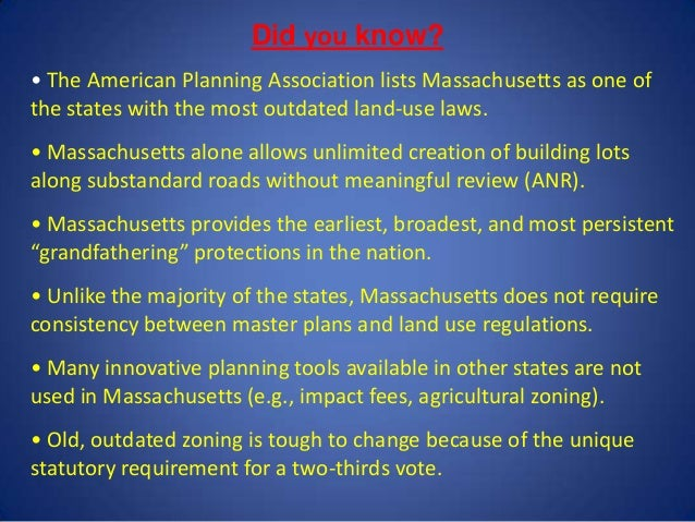 Massachusetts Land Use Laws: Outdated?