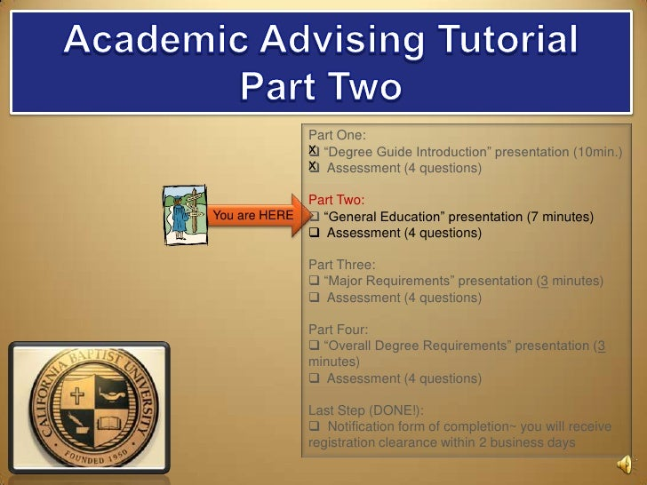 "Academic Advising Tutorial<br />Part Two<br />You are HERE<br />Part One: <br /><ul><li> ""Degree Guide Introduction"" prese..."