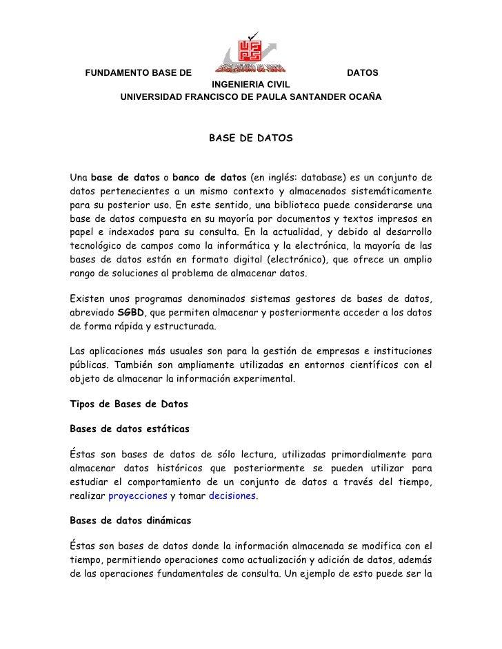 FUNDAMENTO BASE DE                             DATOS                          INGENIERIA CIVIL          UNIVERSIDAD FRANCI...