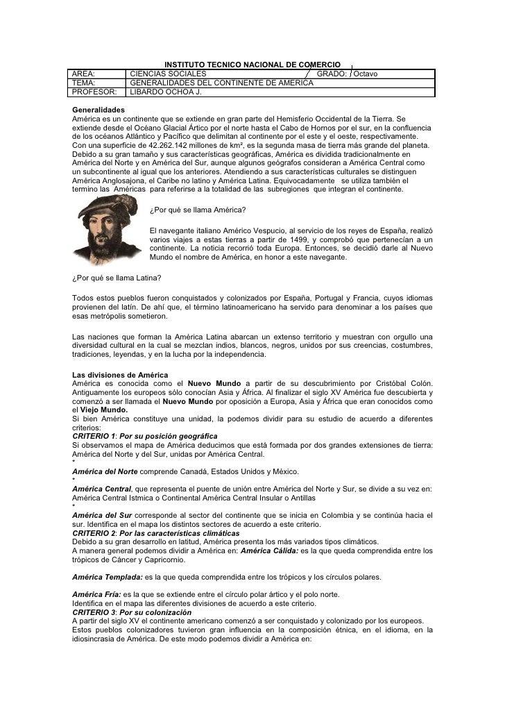INSTITUTO TECNICO NACIONAL DE COMERCIOAREA:            CIENCIAS SOCIALES                        GRADO: OctavoTEMA:        ...