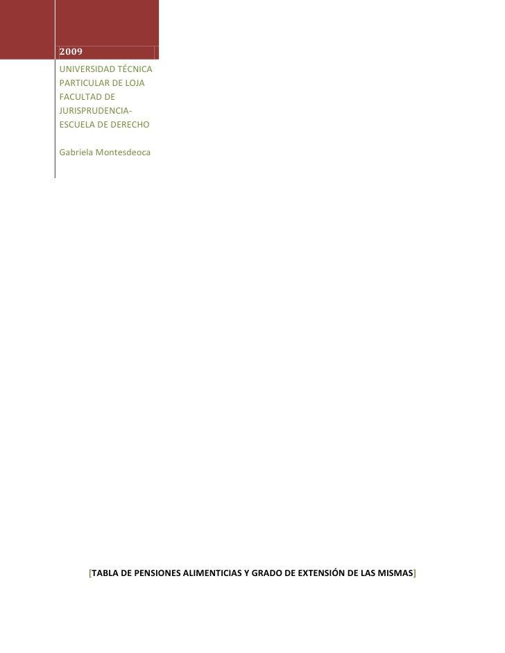 TABLA DE PENSIONES ALIMENTICIAS DE ECUADOR