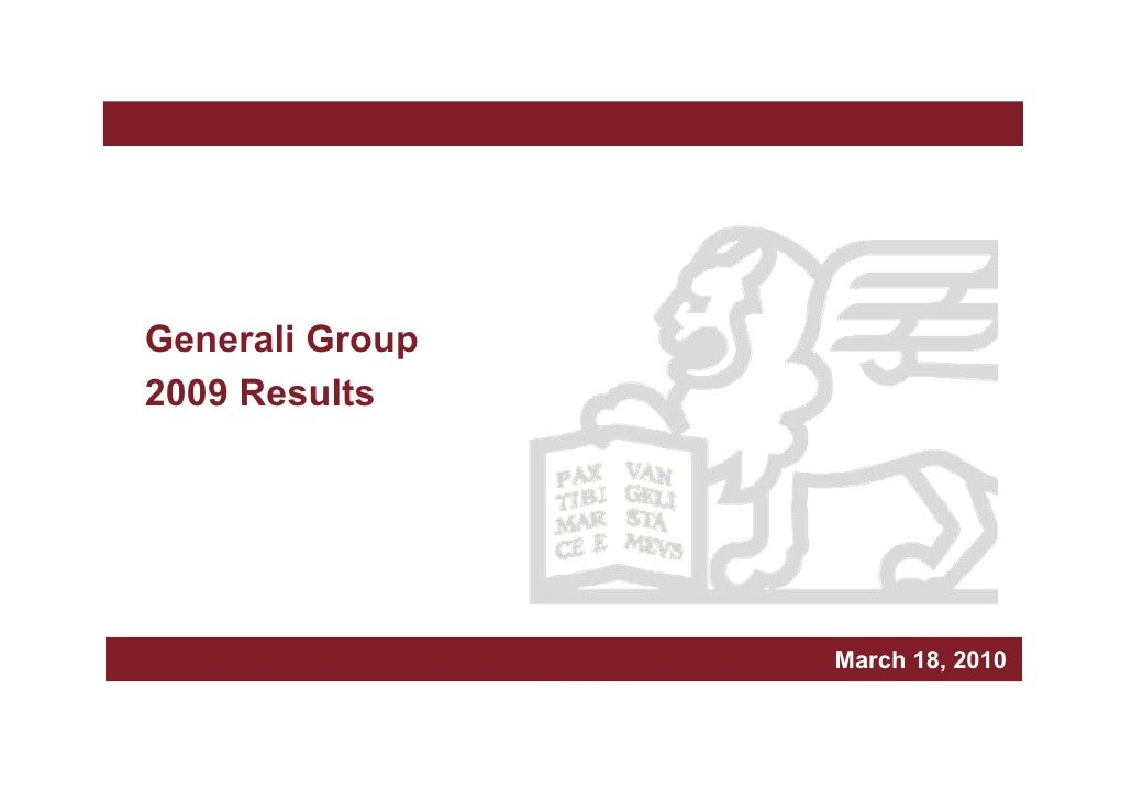 Generali Group 2009 results