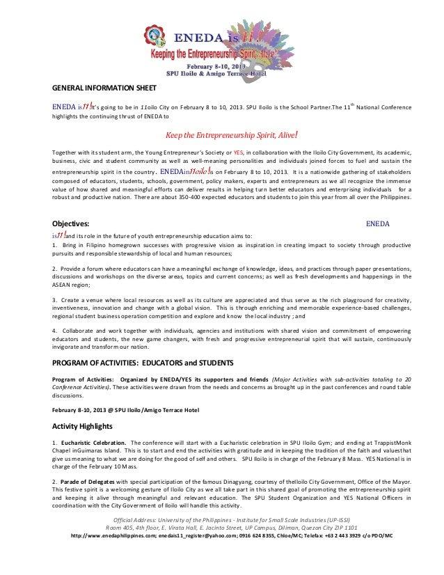 General information sheet eneda is 11 oct 23