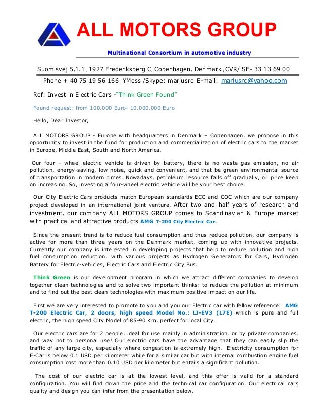 Business Opportunity General Investor Letter Amg E Car