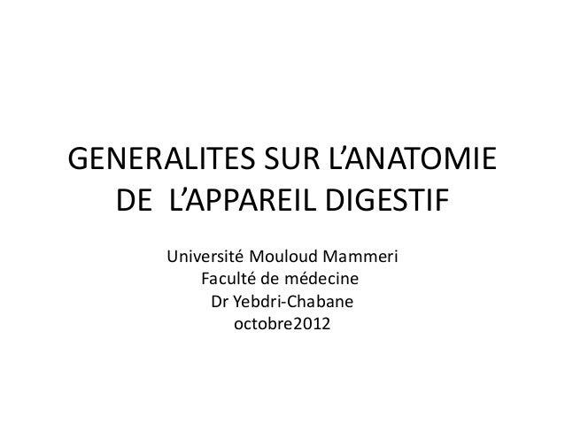 GENERALITES SUR L'ANATOMIE  DE L'APPAREIL DIGESTIF      Université Mouloud Mammeri          Faculté de médecine           ...