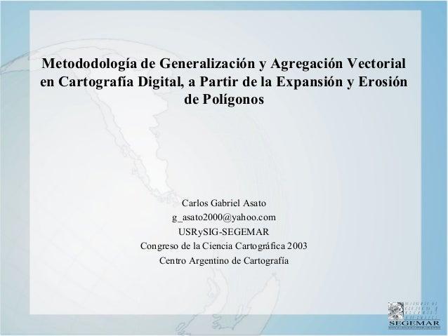 IN S T IT U T O D E G E O L O G I A Y R E C U R S O S M I N E R A L E S Metododología de Generalización y Agregación Vecto...