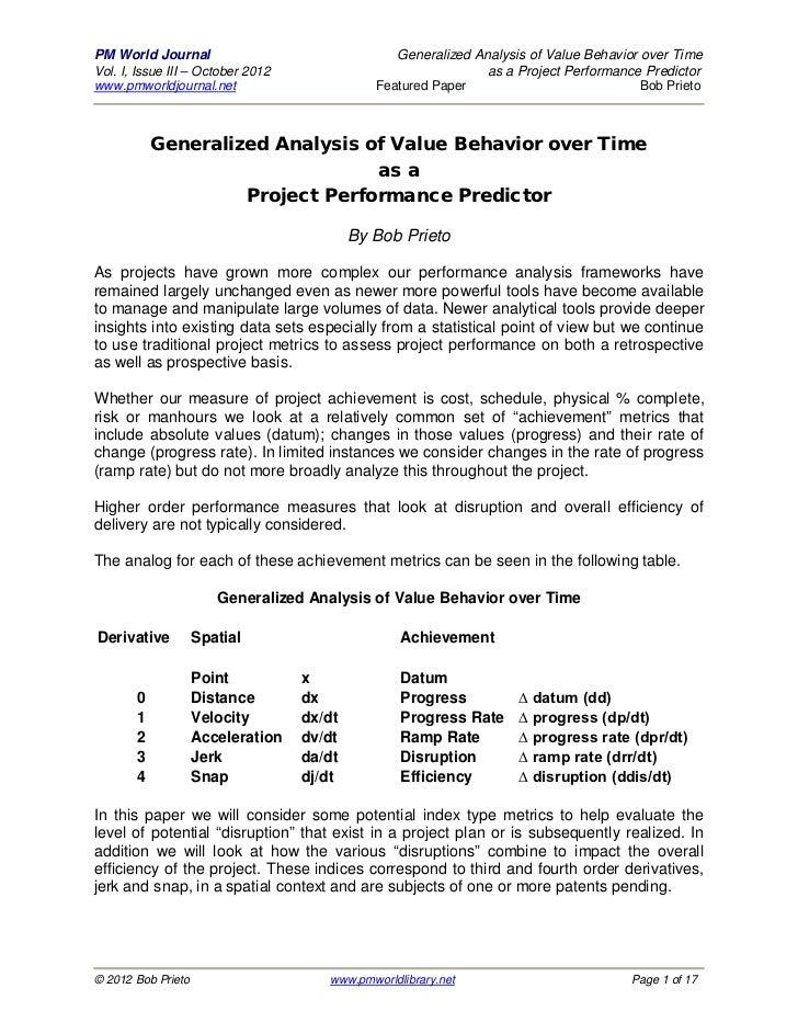 Generalized Analysis Value Behavior