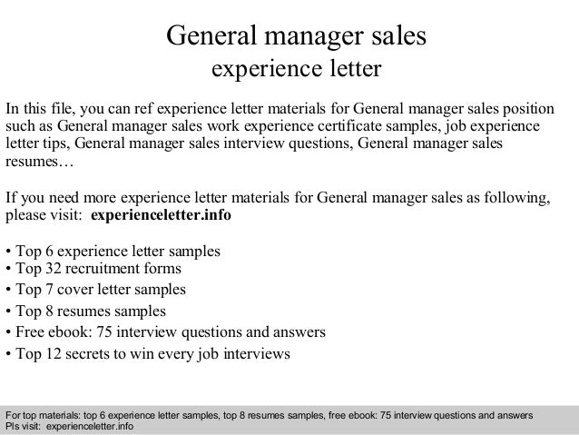 General Manager Sales Experience Letter
