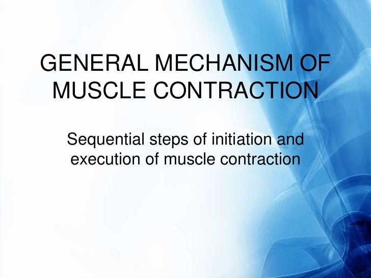 GENERAL MECHANISM OF MUSCLE CONTRACTION Sequential steps of initiation and execution of muscle contraction