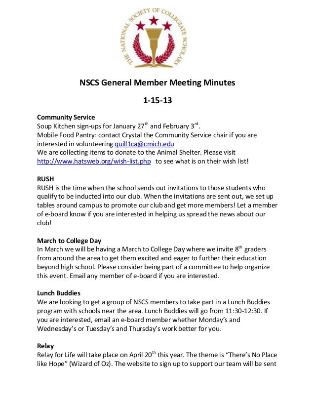 NSCS General Member Meeting Minutes                                     1-15-13Community ServiceSoup Kitchen sign-ups for ...