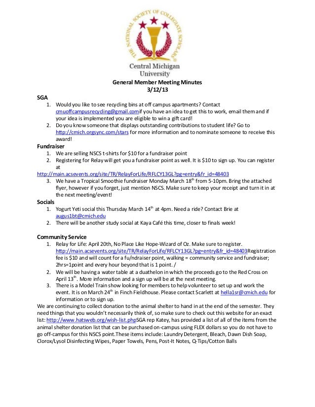 General Member Meeting Minutes                                             3/12/13SGA    1. Would you like to see recyclin...