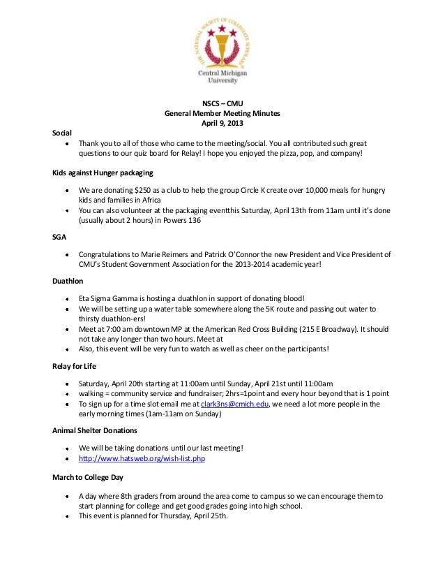 NSCS – CMU                                   General Member Meeting Minutes                                            Apr...