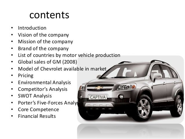 a business analysis of general motors a vehicle manufacturing company General motors company business units in 2013, gm announced that holden would cease engine and vehicle manufacturing operations in australia by the end of 2017 beyond 2017 holden's australian presence will consist of.
