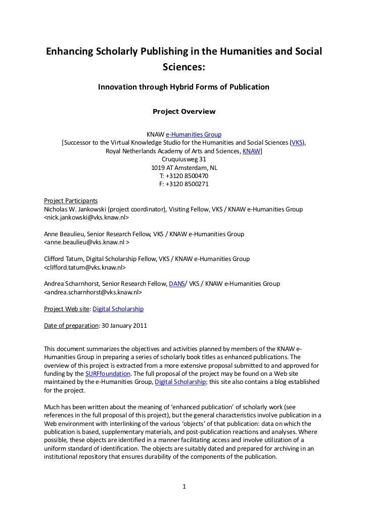 General project description, enhancing scholarly publishing, draft2, 5 feb2011