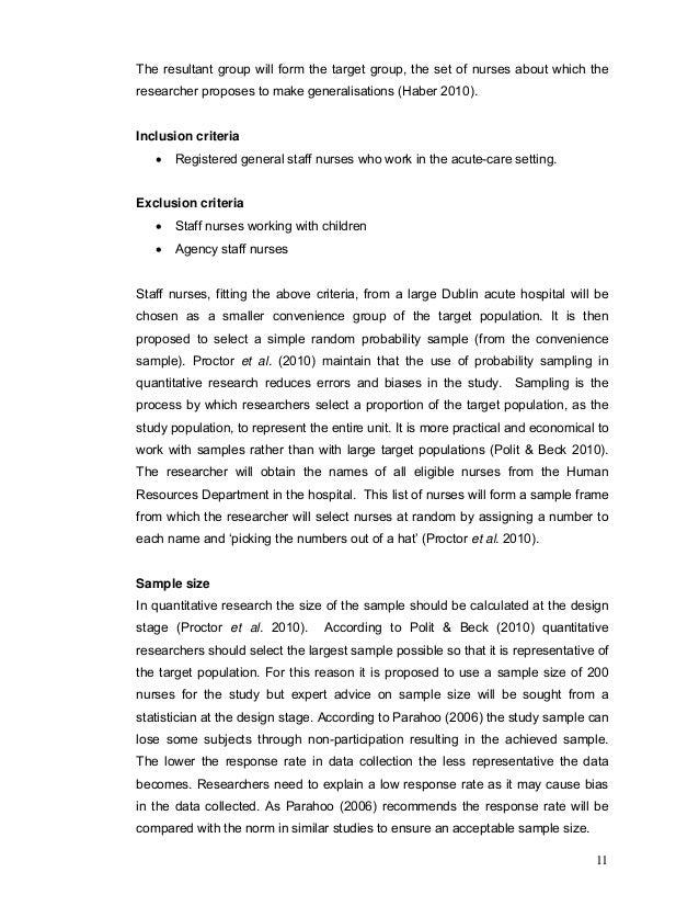 Sample nursing research proposal paper