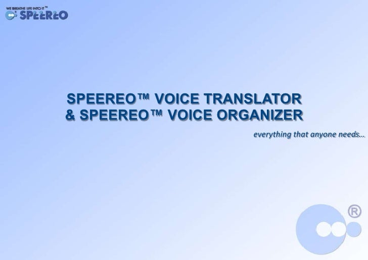 General Speereo Presentation