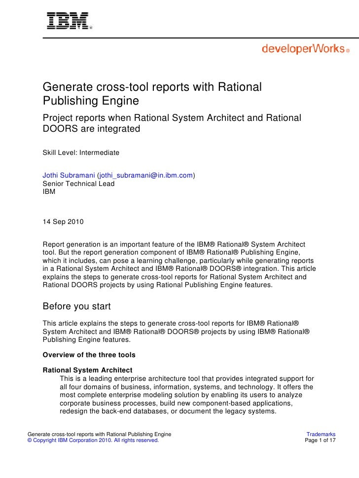 Generate cross-tool reports with Rational       Publishing Engine       Project reports when Rational System Architect and...