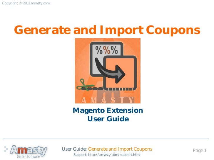 User Guide for Generate and Import Coupons Magento extension by Amasty
