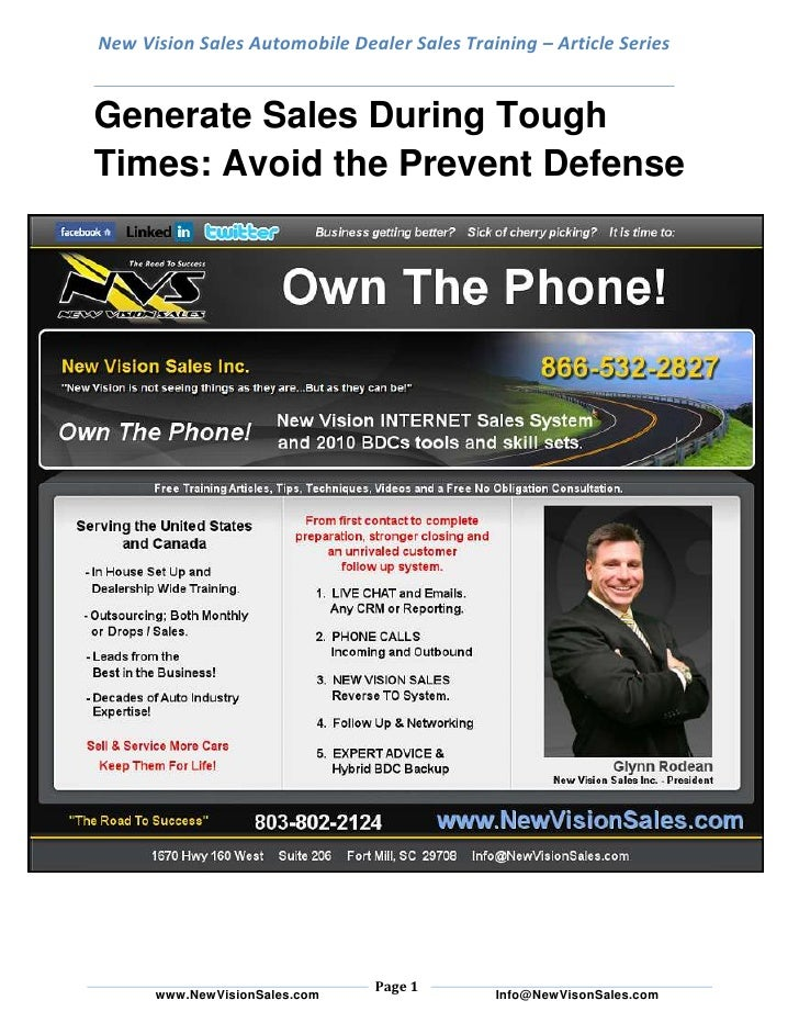 Generate sales during tough times    avoid the prevent defense