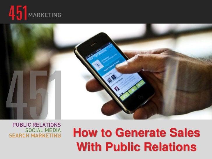 Generate Sales Using Public Relations