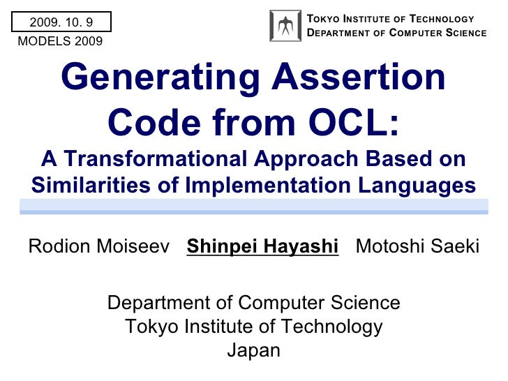 Generating Assertion Code from OCL: A Transformational Approach Based on Similarities of Implementation Languages
