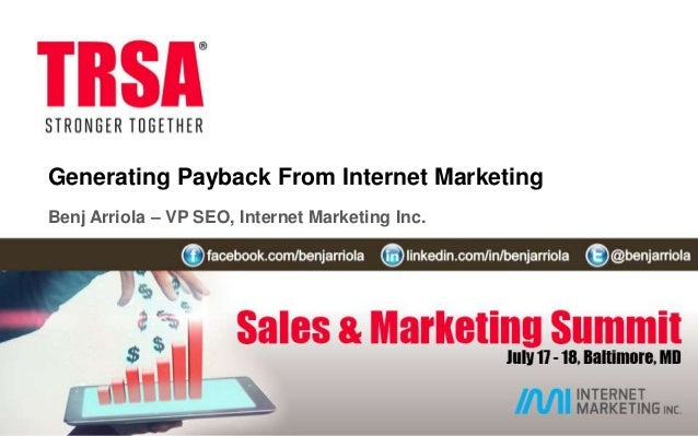 Generating Payback from Internet Marketing