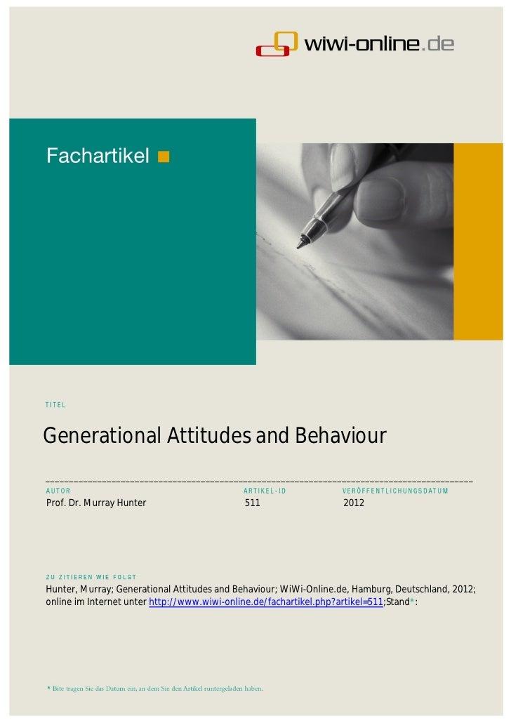 Generational Attitudes and Behaviour______________________________________________________________________________________...