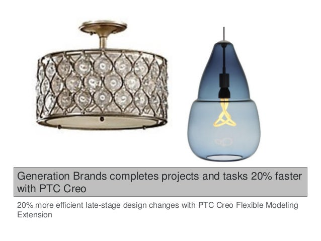 Generation Brands completes projects and tasks 20% faster with PTC Creo 20% more efficient late-stage design changes with ...