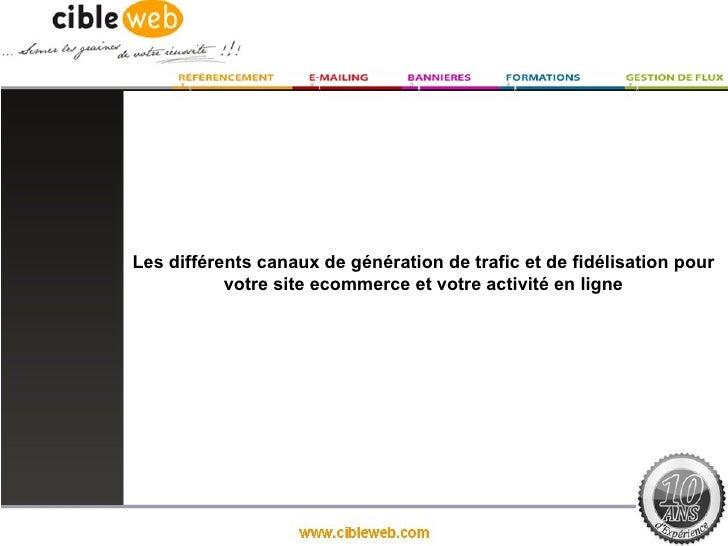 Les différents canaux de génération de trafic et de fidélisation pour           votre site ecommerce et votre activité en ...