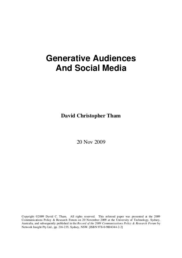 Generative Audiences And Social Media (Refereed Paper)
