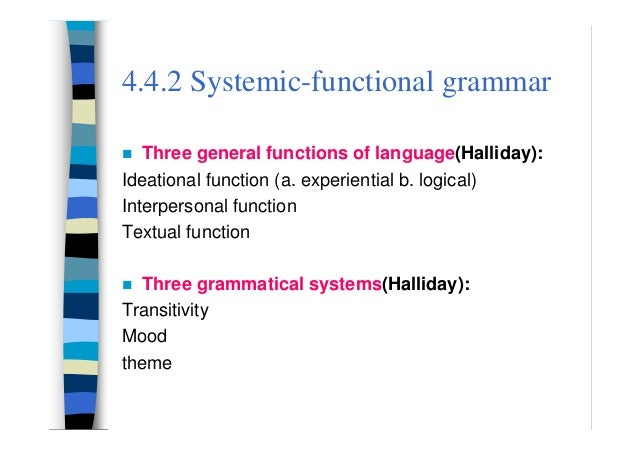 chomsky transformational generative linguistics and halliday systemic functional linguistics essay Halliday's systemic grammar is a semiotic account of grammar, because of this orientation to choice  considerations in systemic functional linguistics,cambridge.