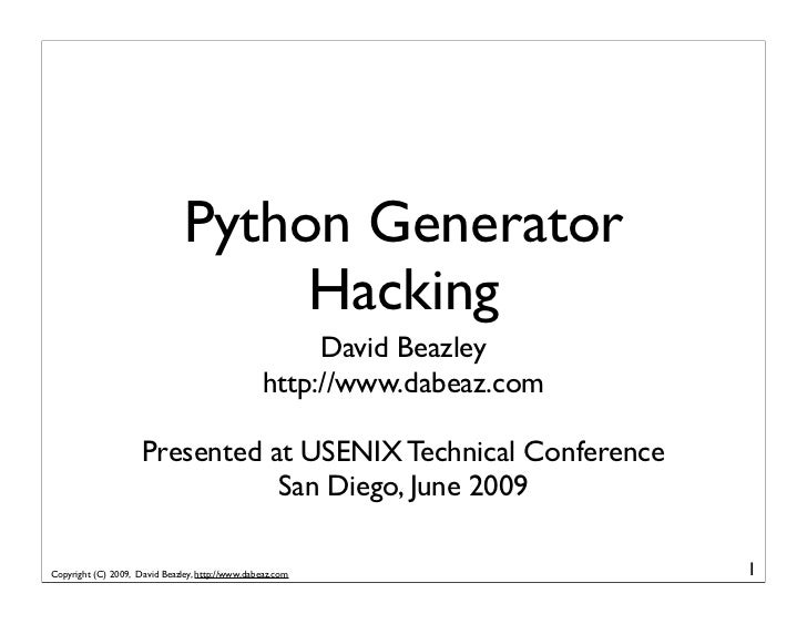 Python Generator                                     Hacking                                                       David B...