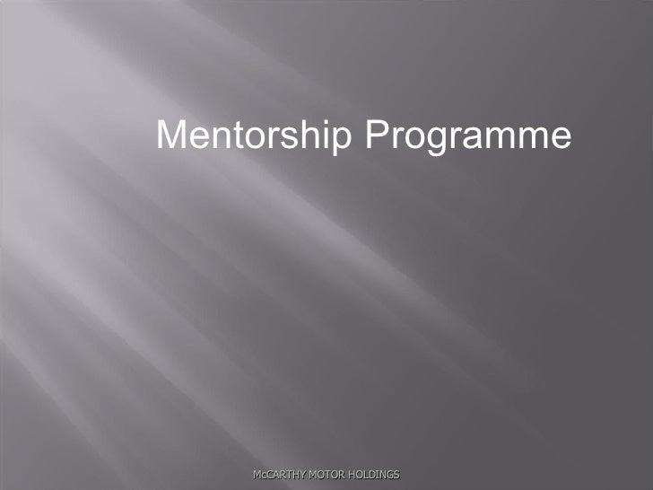 McCARTHY MOTOR HOLDINGS Mentorship Programme