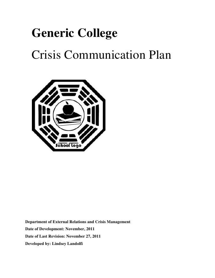 Generic College: Crisis Communication Plan