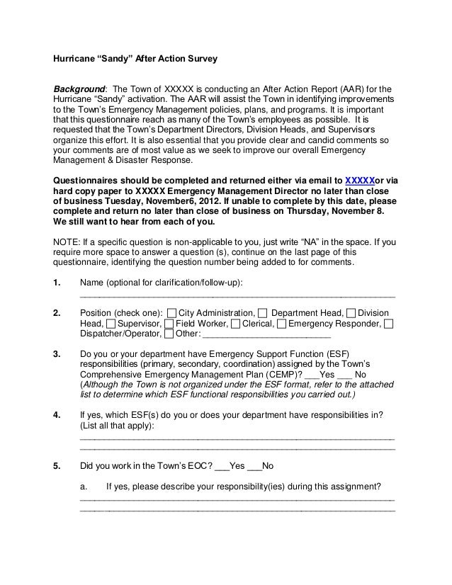 Generic Hurricane Sandy Aa Survey
