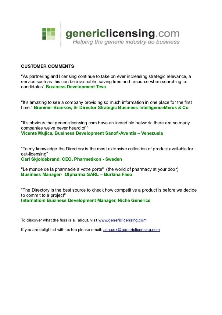 Genericlicensing customer comments 2010
