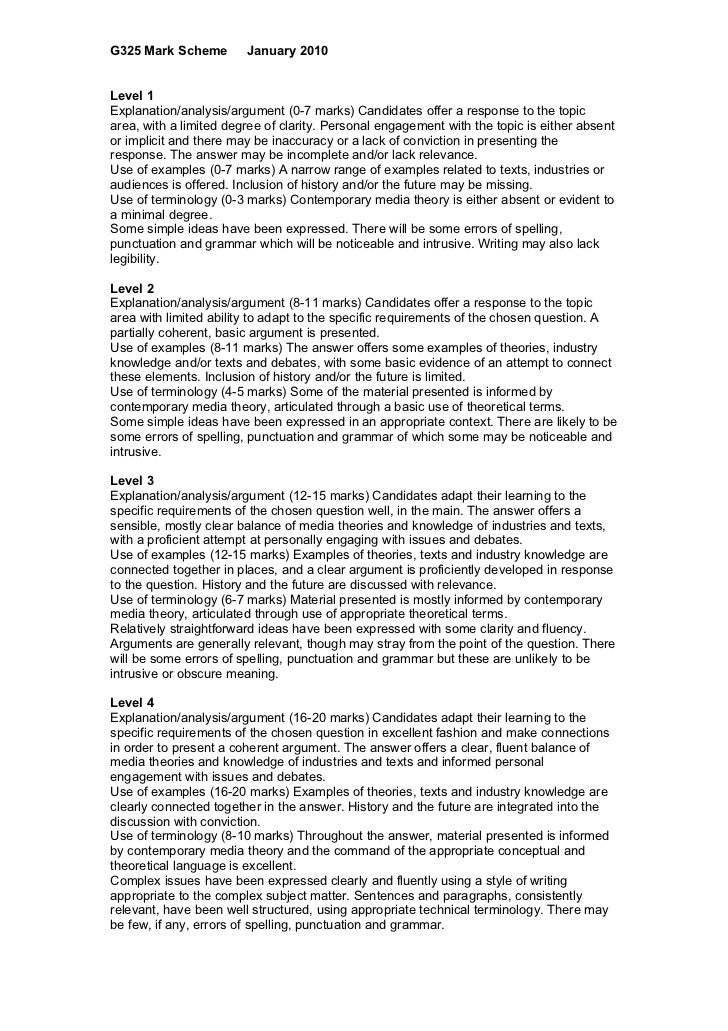 G325 Mark Scheme        January 2010Level 1Explanation/analysis/argument (0-7 marks) Candidates offer a response to the to...