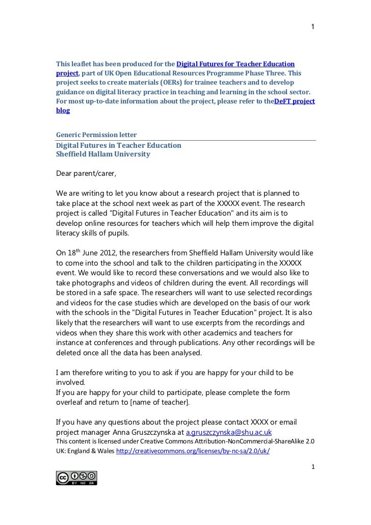 Generic permissions letter