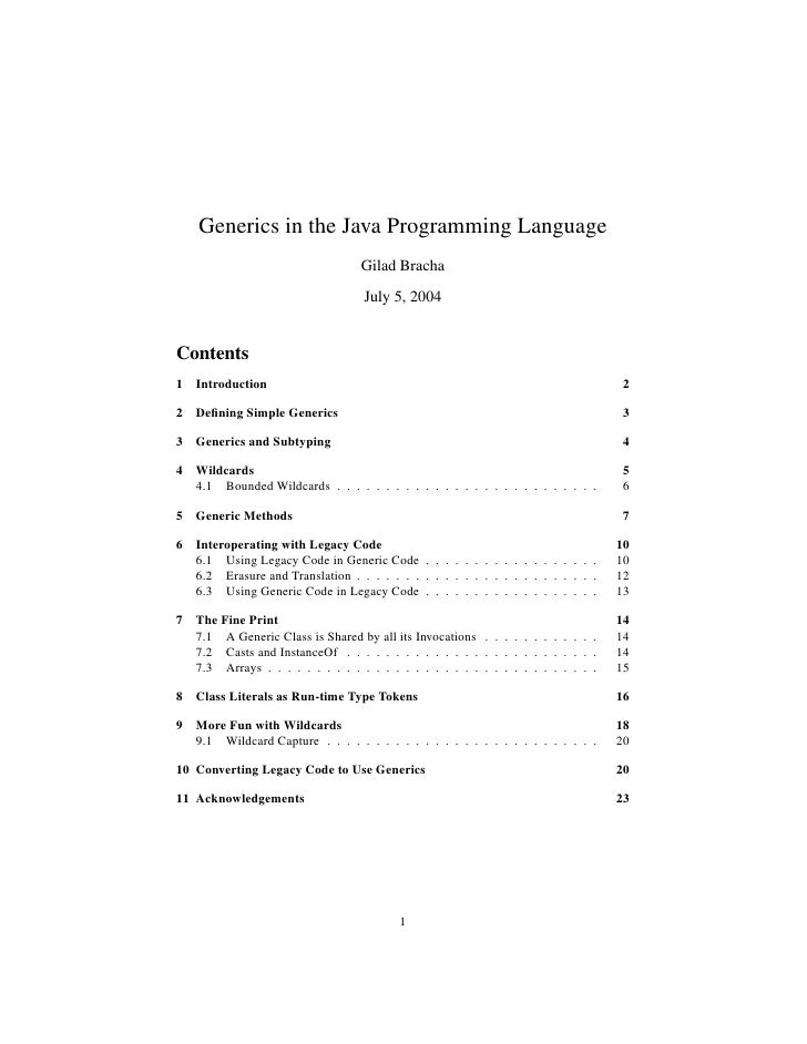 Generics in the Java Programming Language                                    Gilad Bracha                                 ...