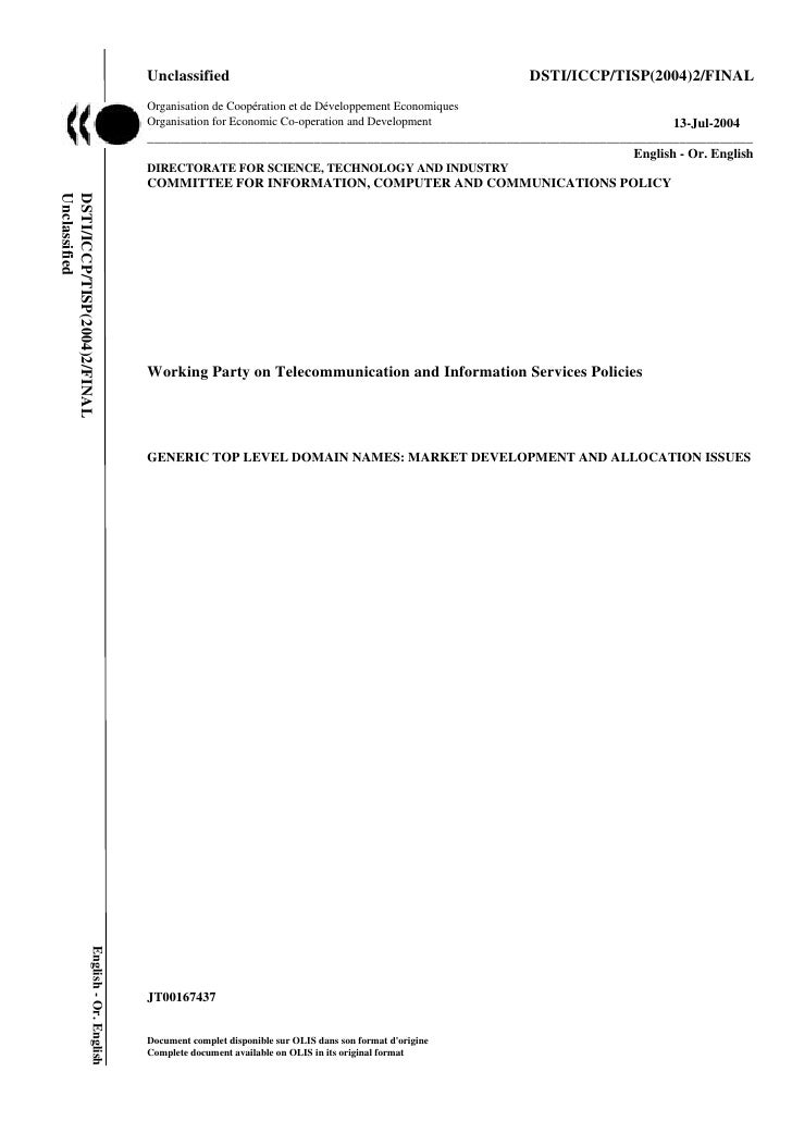 Unclassified                                                     DSTI/ICCP/TISP(2004)2/FINAL                              ...