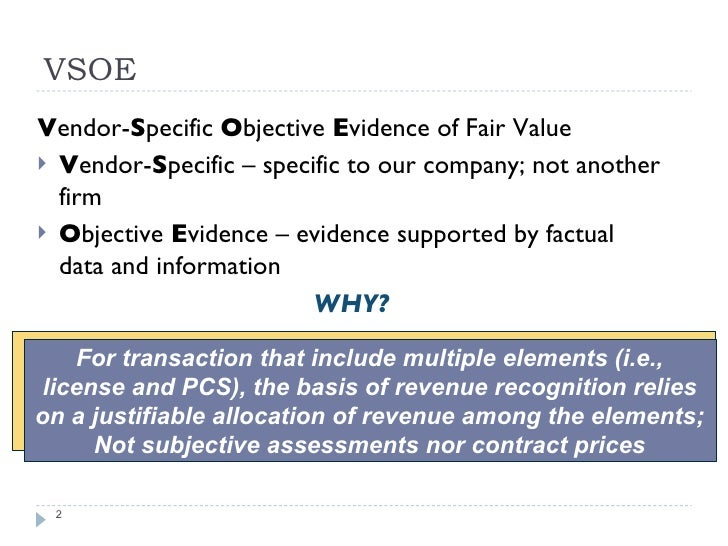 vendor specific objective evidence Automating vendor-specific objective evidence (vsoe) & fair market value (fmv) to optimize revenue recognition challenges & opportunities with multi-element.