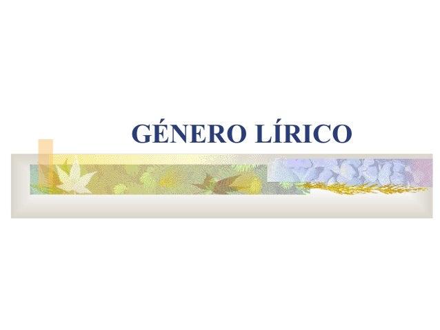 Genero lírico